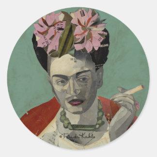 Frida Kahlo de García Villegas Pegatina Redonda