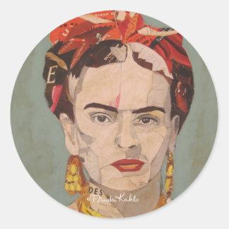Frida Kahlo en Coyoacán Portrait Classic Round Sticker