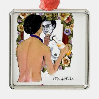 Frida Kahlo en el Espejo Portrait Metal Ornament