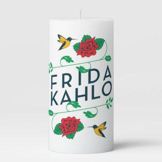Frida Kahlo | Floral Typography Pillar Candle