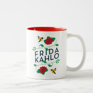 Frida Kahlo | Floral Typography Two-Tone Coffee Mug