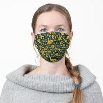 Frida Kahlo   Gold & Navy Floral Pattern Adult Cloth Face Mask