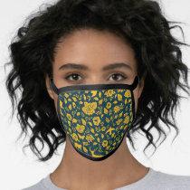 Frida Kahlo   Gold & Navy Floral Pattern Face Mask