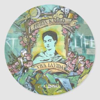 Frida Kahlo Graffiti Classic Round Sticker