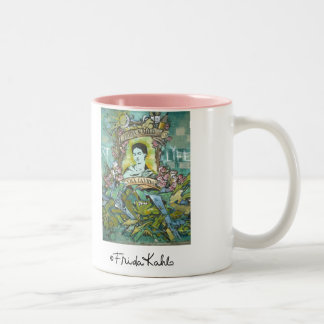 Frida Kahlo Graffiti Two-Tone Coffee Mug