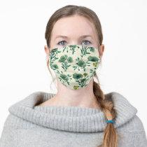 Frida Kahlo   Green Floral Pattern Adult Cloth Face Mask