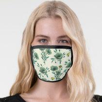 Frida Kahlo   Green Floral Pattern Face Mask