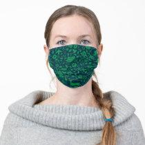 Frida Kahlo   Green & Navy Floral Pattern Adult Cloth Face Mask