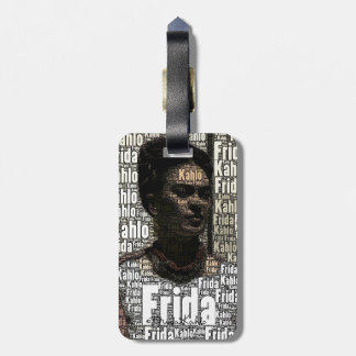 Frida Kahlo Lettering Portrait Luggage Tag