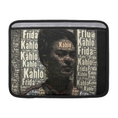 Frida Kahlo Lettering Portrait Macbook Air Sleeve at Zazzle