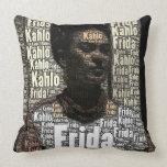 Frida Kahlo Lettering Portrait Pillows