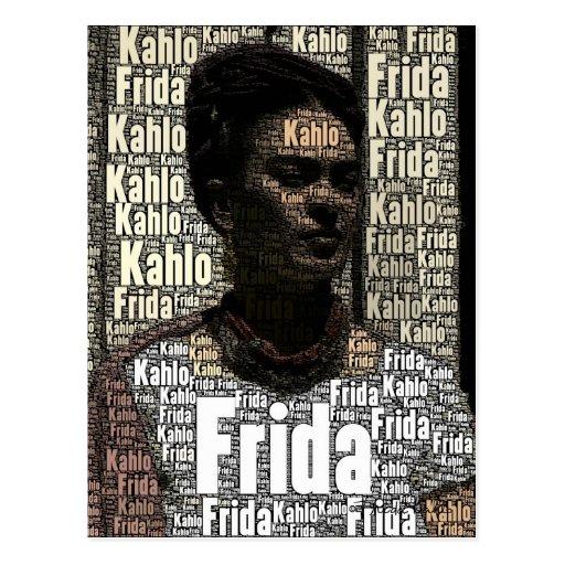 Frida Kahlo Lettering Portrait Postcard