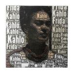 Frida Kahlo Lettering Portrait Small Square Tile