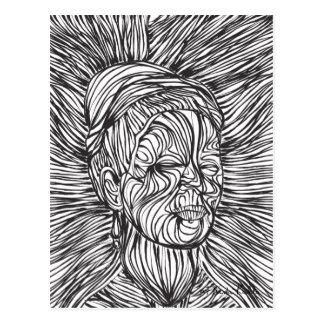 Frida Kahlo Lines Portrait Postcard
