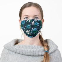 Frida Kahlo   Navy and Blue Floral Pattern Adult Cloth Face Mask