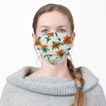 Frida Kahlo   Orange and White Floral Pattern Adult Cloth Face Mask