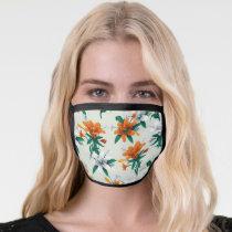 Frida Kahlo   Orange and White Floral Pattern Face Mask