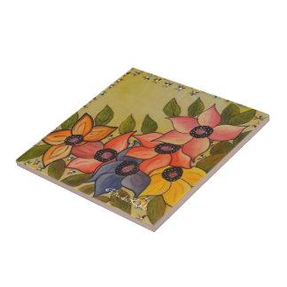 Frida Kahlo Painted Flores Ceramic Tile