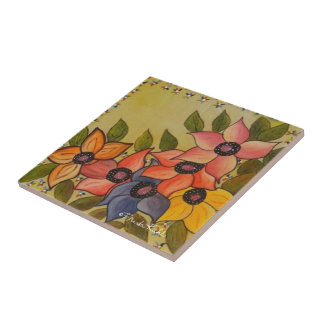 Frida Kahlo Painted Flores Small Square Tile