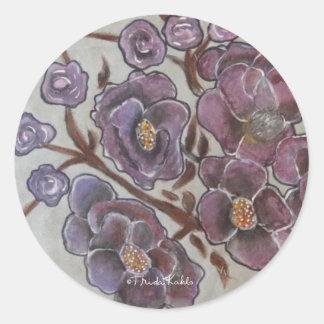 Frida Kahlo Painted Flowers Classic Round Sticker