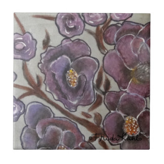 Frida Kahlo Painted Flowers Small Square Tile