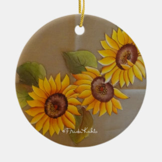 Frida Kahlo Painted Sunflowers Ceramic Ornament