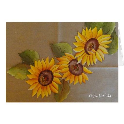 Frida Kahlo Painted Sunflowers Greeting Card
