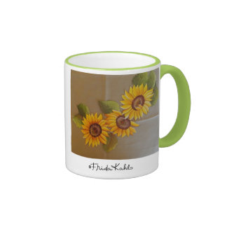 Frida Kahlo Painted Sunflowers Ringer Coffee Mug