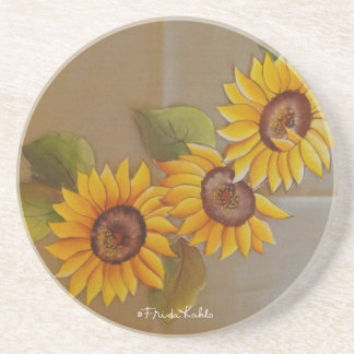Frida Kahlo Painted Sunflowers Sandstone Coaster