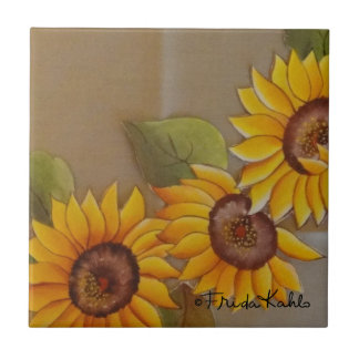 Frida Kahlo Painted Sunflowers Small Square Tile