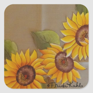 Frida Kahlo Painted Sunflowers Square Sticker