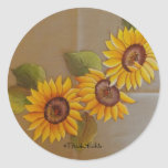 Frida Kahlo Painted Sunflowers Classic Round Sticker