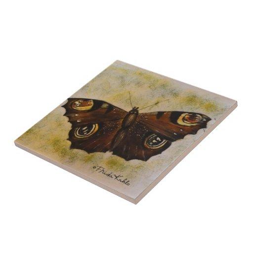 Frida Kahlo pintó la mariposa Azulejo Cuadrado Pequeño