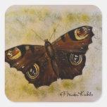 Frida Kahlo pintó la mariposa Pegatina Cuadrada