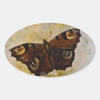 Frida Kahlo pintó la mariposa Pegatina Ovalada