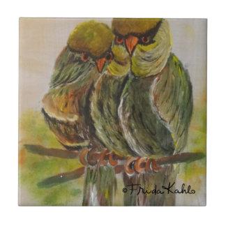 Frida Kahlo pintó pájaros Azulejo Cuadrado Pequeño