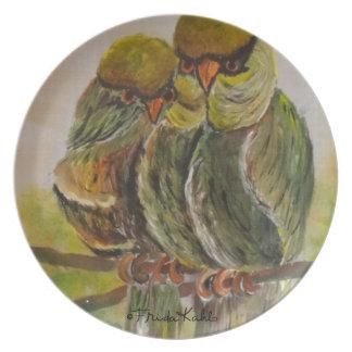 Frida Kahlo pintó pájaros Platos Para Fiestas