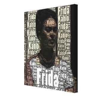 Frida Kahlo que pone letras al retrato Impresión De Lienzo