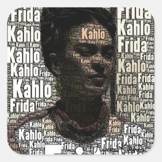 Frida Kahlo que pone letras al retrato Pegatina Cuadrada
