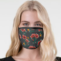 Frida Kahlo   Red and Black Floral Pattern Face Mask