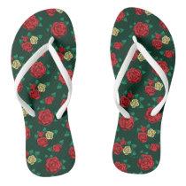 Frida Kahlo   Red and Gold Rose Pattern Flip Flops