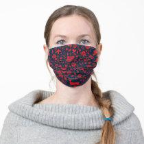 Frida Kahlo   Red & Navy Floral Pattern Adult Cloth Face Mask