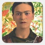Frida Kahlo Reflejando Pegatina Cuadrada