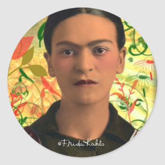 Frida Kahlo Reflejando Pegatina Redonda