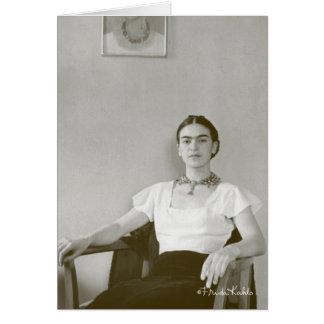 Frida Kahlo Seated w/ Frida Painting Greeting Card
