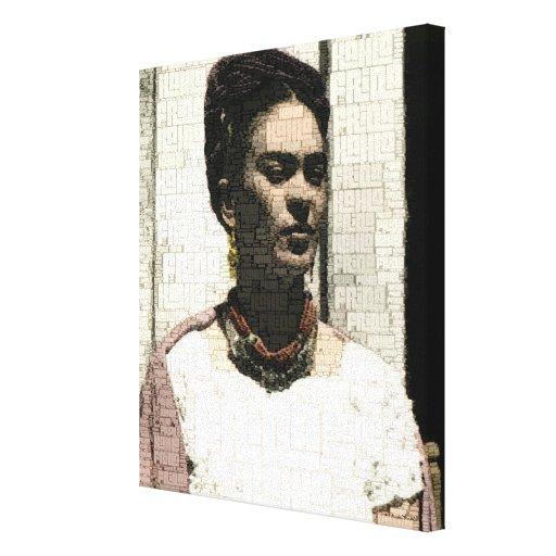 Frida Kahlo Textile Portrait Canvas Print