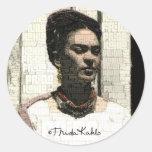 Frida Kahlo Textile Portrait Classic Round Sticker