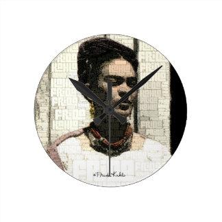 Frida Kahlo Textile Portrait Round Wallclock