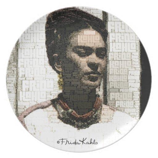 Frida Kahlo Textile Portrait Dinner Plates