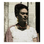 Frida Kahlo Textile Portrait Poster